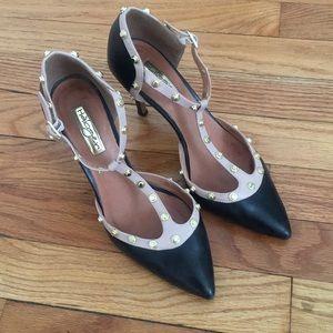 """3"""" heel gold studded black pumps"""